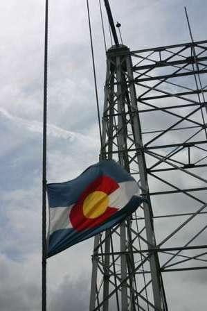 colorado state flag, Royal Gorge Park, Suspension Bridge