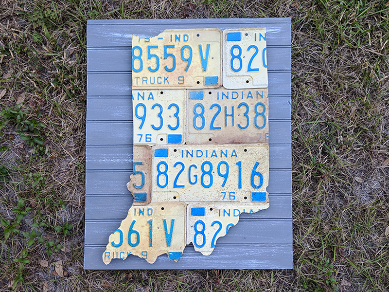 Indiana License Plate Sculpture