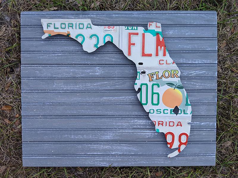 Florida License Plate Sculpture