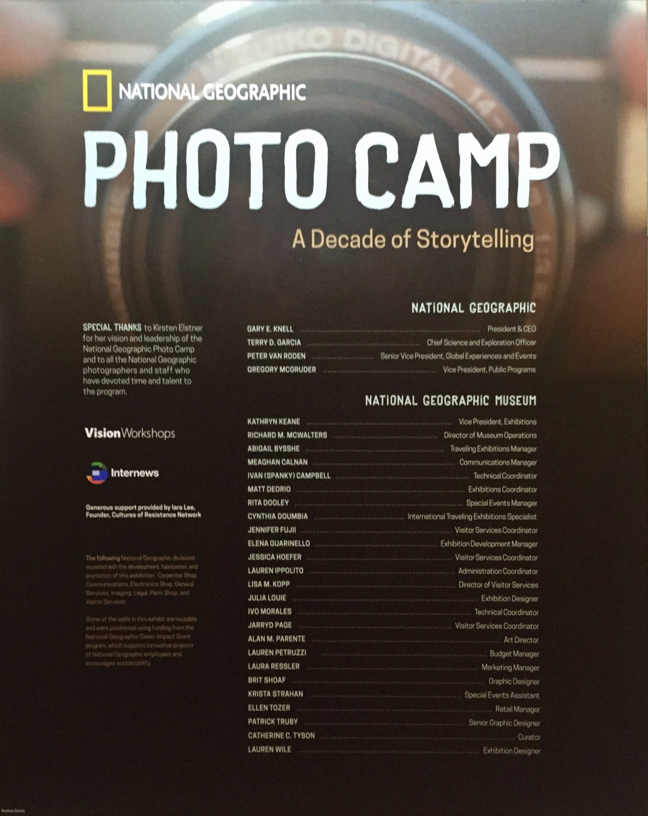 photo camp - a decade of storytelling exhibit at national geographic