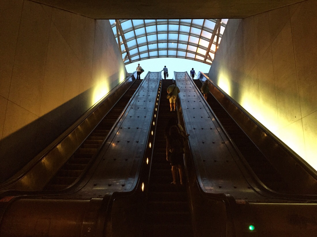 eastern market metro station escalator in washington dc