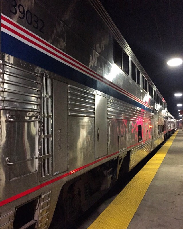 southwest chief at chicago union station about to leave for los angeles