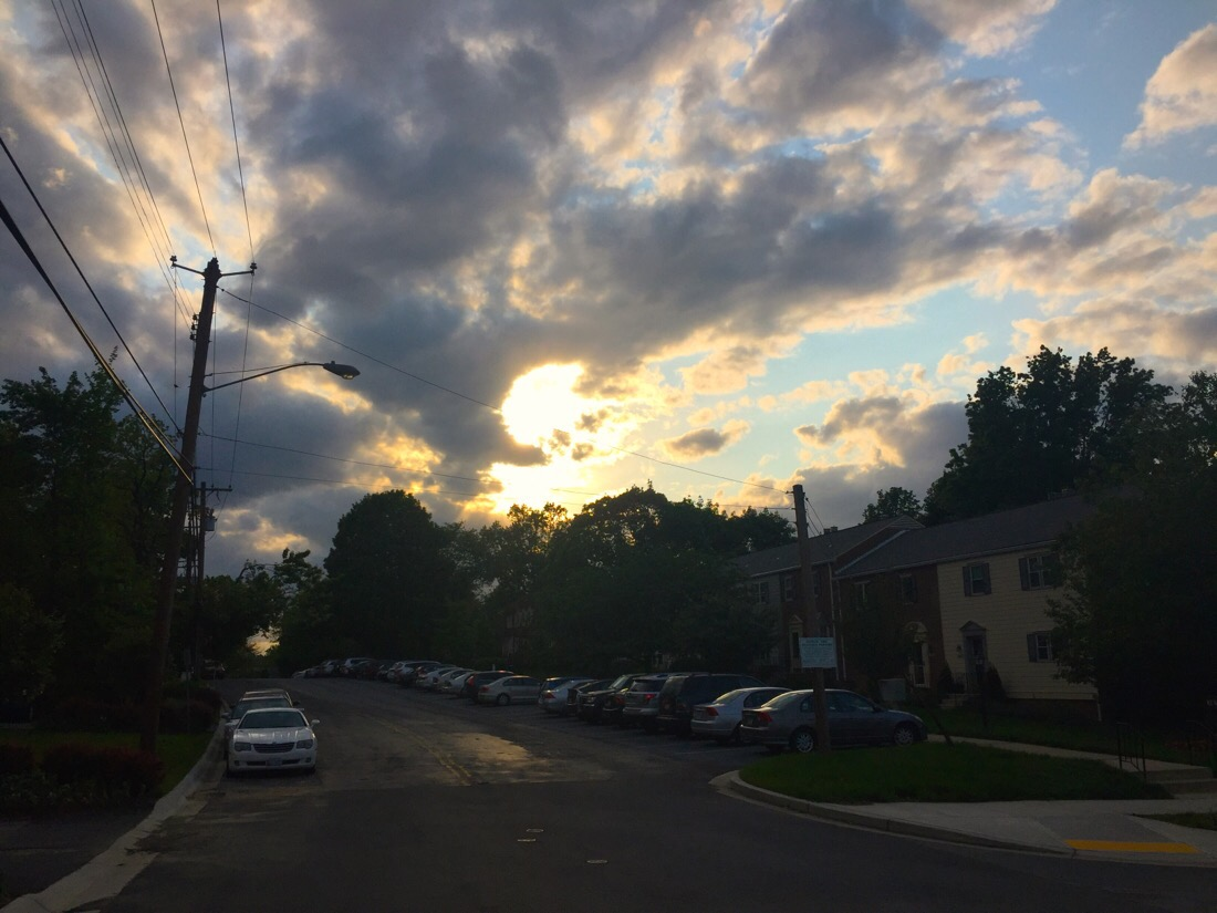 sunset over chevy chase dr in chevy chase, md