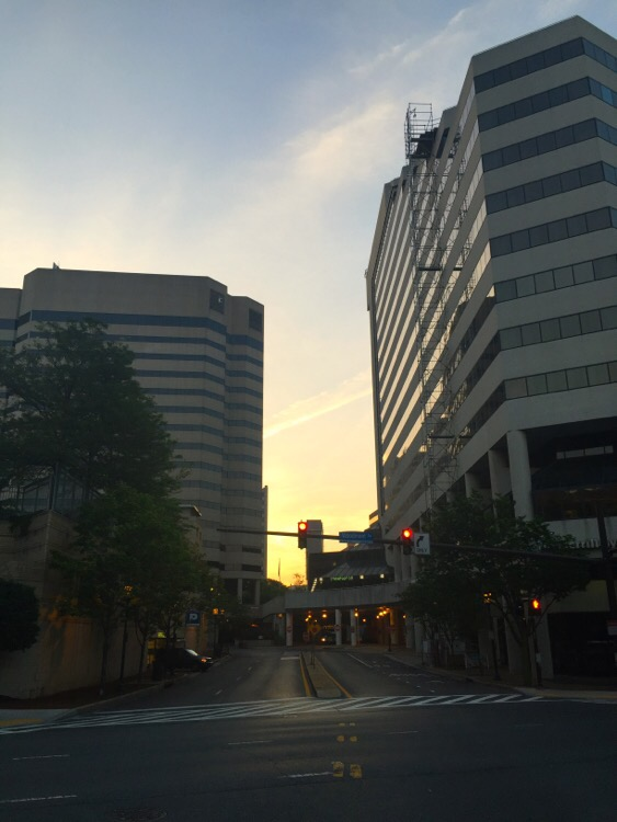 sunrise over the streets of bethesda, md