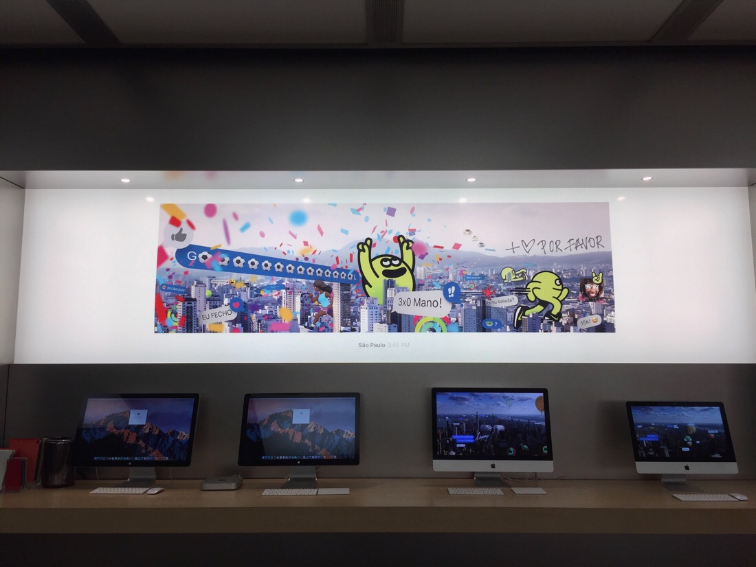 New display panels at the Bethesda row Apple Store