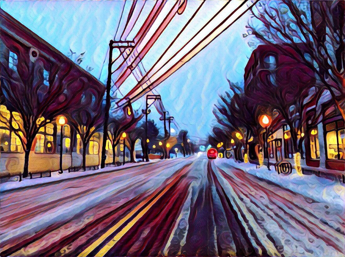 Snow day in Bethesda, md edited with the prisma app for iOS