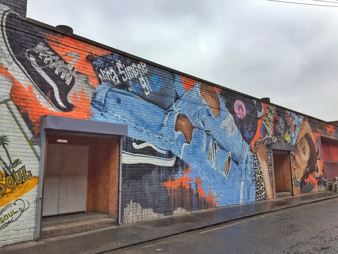 Street mural at constellations in liverpool's Baltic triangle