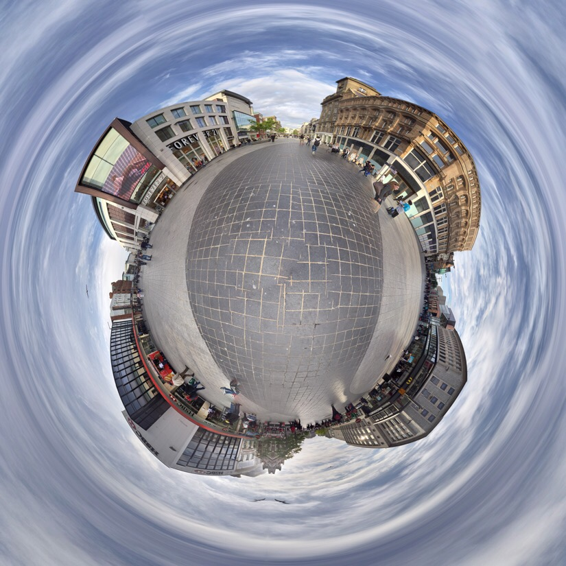Panoramic of church street in Liverpool edited with tiny planet pro.