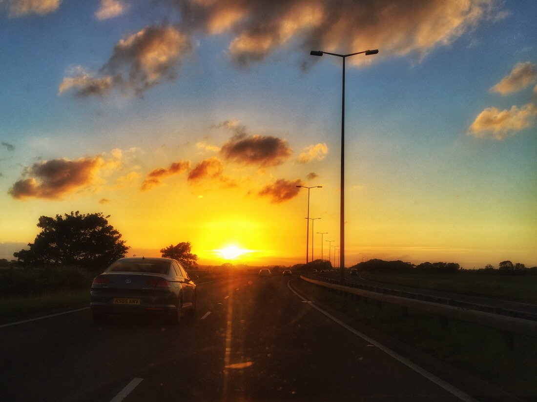Driving home along the formby bypass at sunset