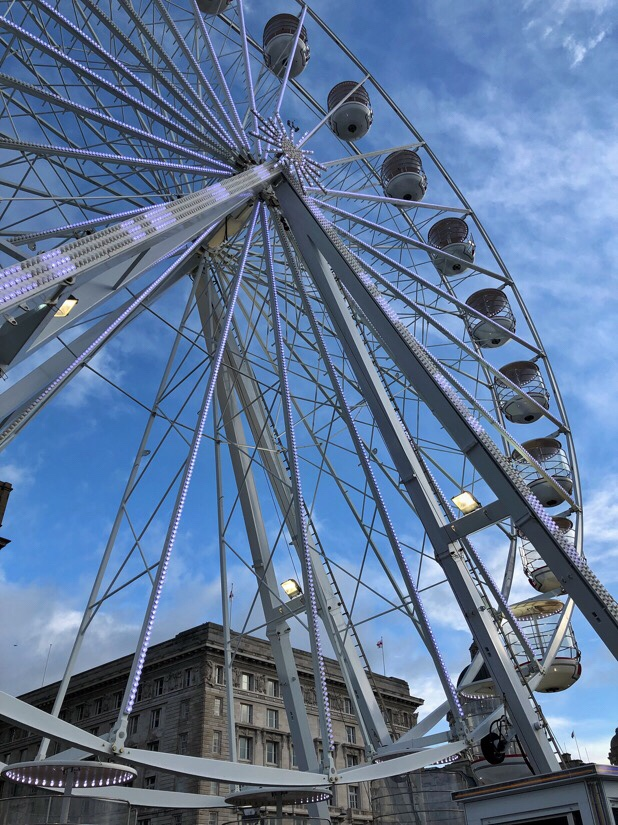 Ferris wheel at the Pier Head Christmas attractions in Liverpool