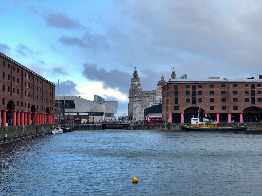 River Mersey, Albert dock and waterfront buildings in Liverpool