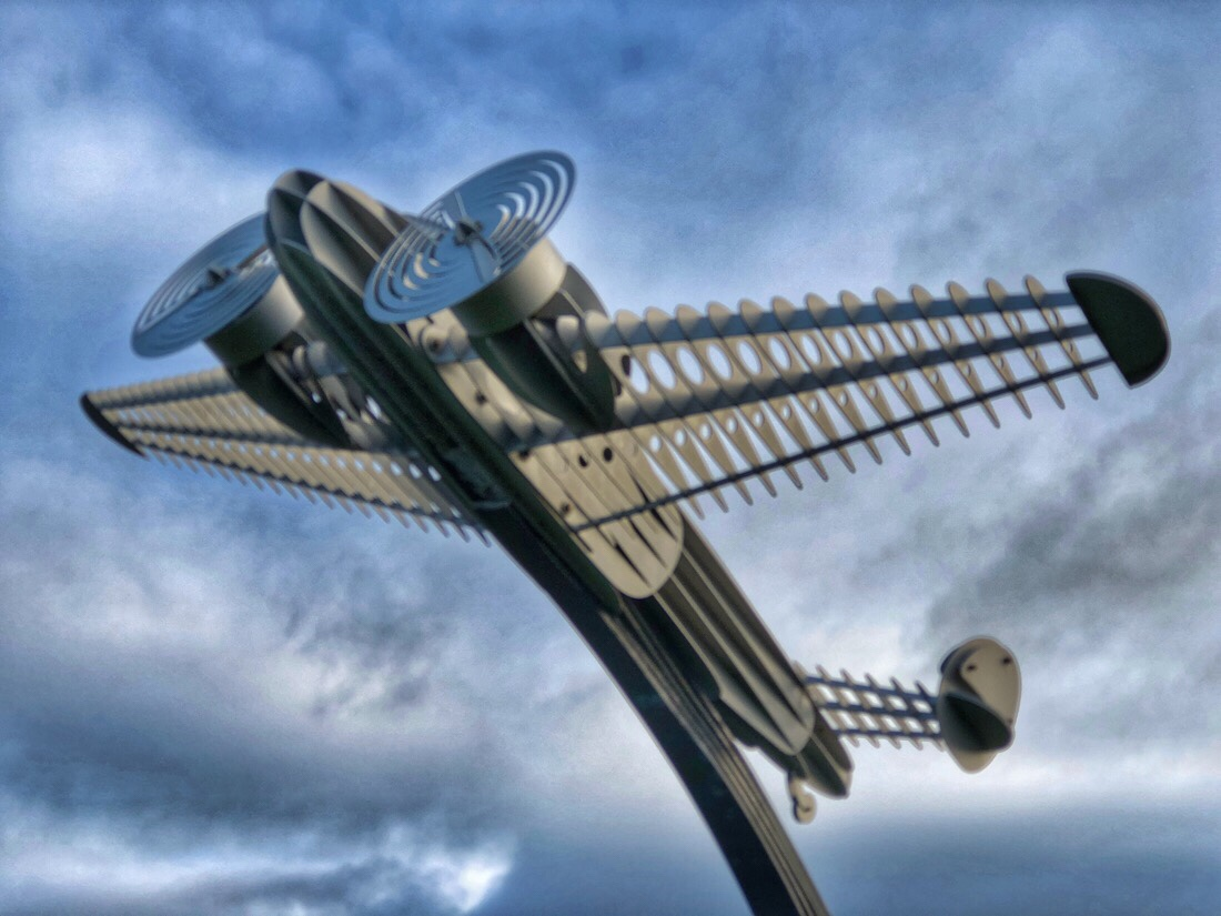 Sculpture of a Lockheed Electra in Ainsdale, merseyside