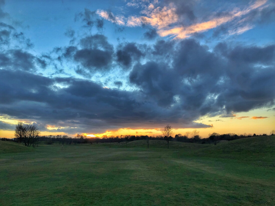Sunset over Bootle golf course on merseyside