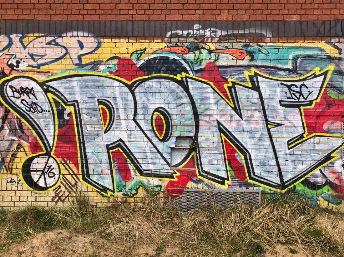 Street art at Crosby marina in Liverpool.