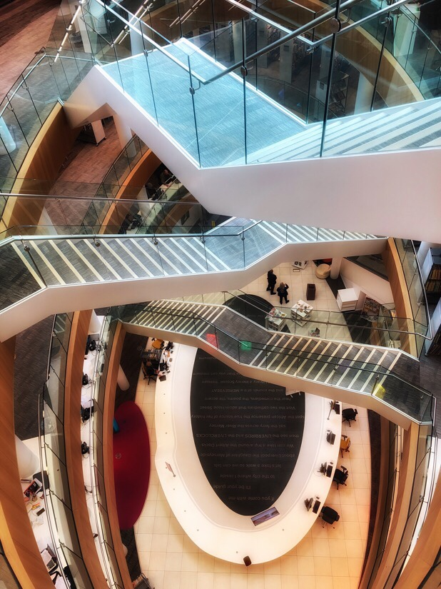The interior stairs at the Liverpool central library in Liverpool city center