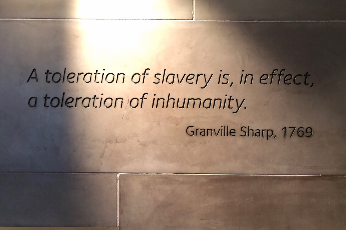 Written quotes on the was inside the international slavery museum at the Albert Dock in Liverpool.