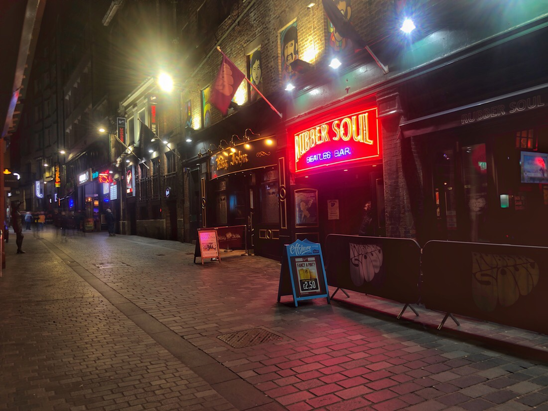 Mathew Street, famous for The Beatles and now the hub of the music scene in Liverpool, England