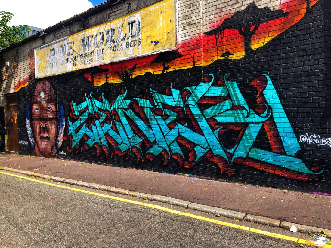 Street art and graffiti on Kempston Street and Lambert Street in Liverpool, England