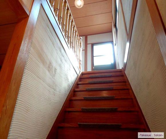 戸建て住宅 階段壁 珪藻土塗り