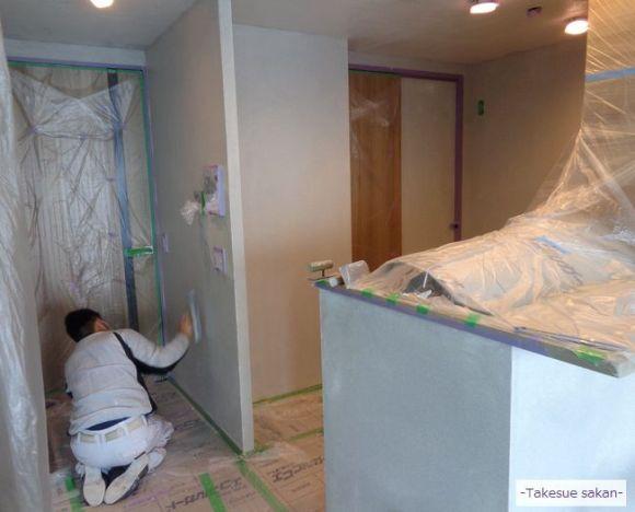 廊下 仕上げ塗り