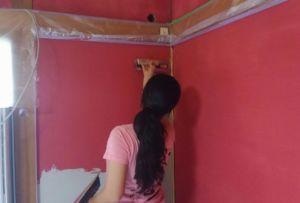 赤色の塗り壁リフォーム