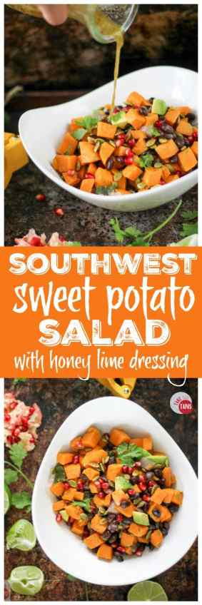 Sweet potatoes, black beans, and avocado make a power-packed salad for any season! Drizzled with a honey lime vinaigrette for a little tartness, this salad will make your tastebuds dance! Southwest Sweet Potato Salad with Honey Lime Vinaigrette Recipe | Take Two Tapas