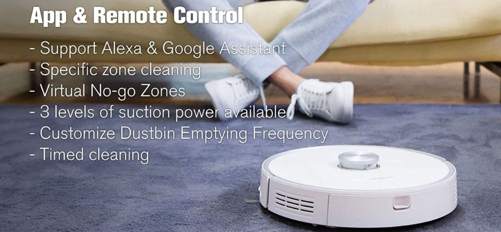 Neabot robot vacuum with self-emptying dustbin