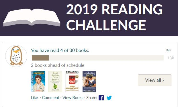 2019 Goodreads reading challenge. My progress so far. 4 read out of 30 books.