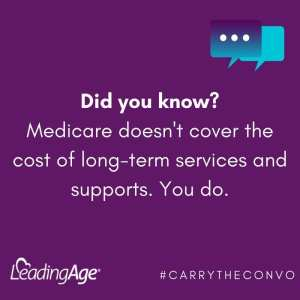 Graphic: Did you know? Medicare doesn't cover the cost of long-term services and supports. You do. #carrytheconvo LeadingAge.org