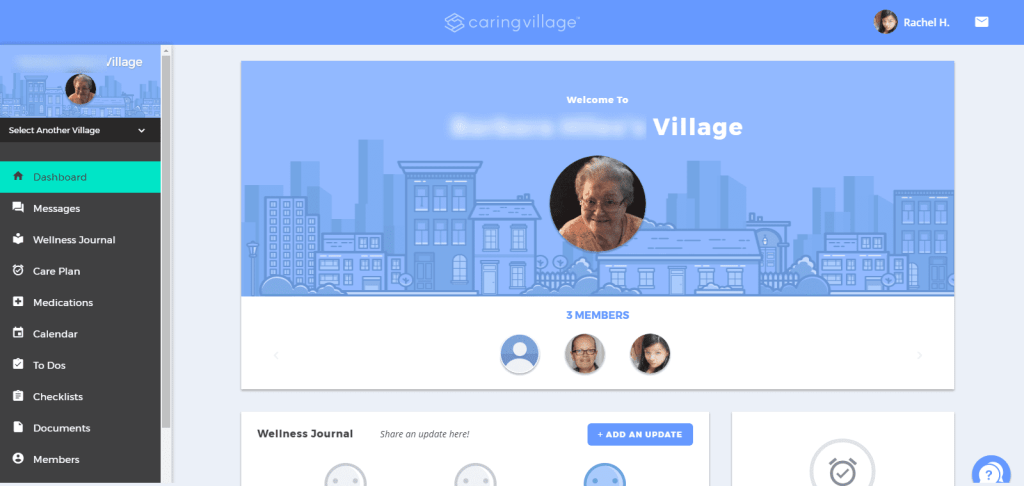 Graphic: Screenshot of Village Dashboard - Caring Village | takingcareofgrandma.com