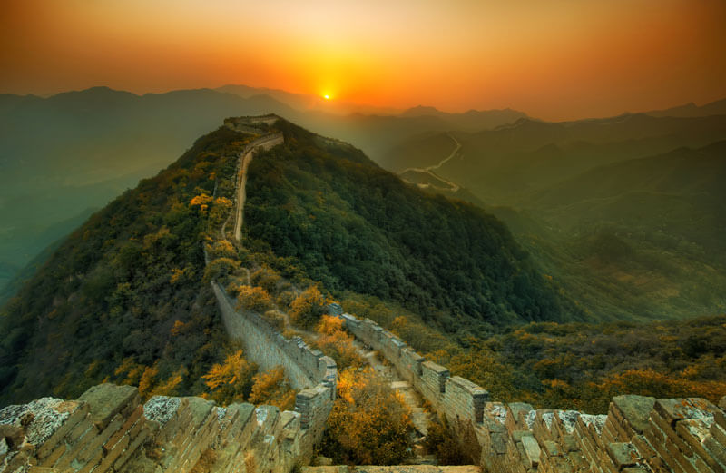 sunset over the Great Wall of China for Slider