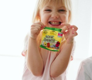 Sour Beans Beauty Shot with girl