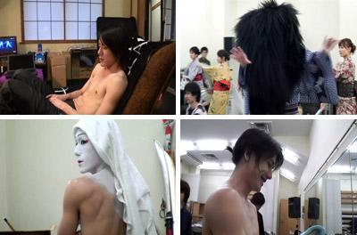 Takki in dressing room, Kabuki practice and make up