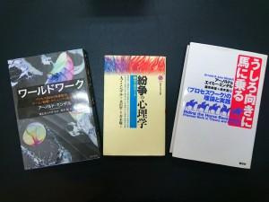 現在、ミンデル本の3冊目を読んでます 左から、ワールドワーク、紛争の心理学、うしろ向きに馬に乗る