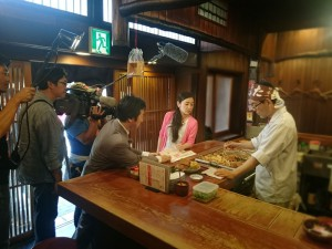 道頓堀の たこ梅本店で「大阪ほんわかテレビ」のロケ取材です