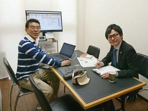 バルーンヘルプの宮本さんと顧客データベース「大福帳」の打合せ