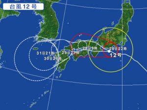 7月28日午後10時の台風12号の進路予想図(Yahoo天気より拝借)借)