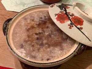 土鍋でたいた小豆がゆ
