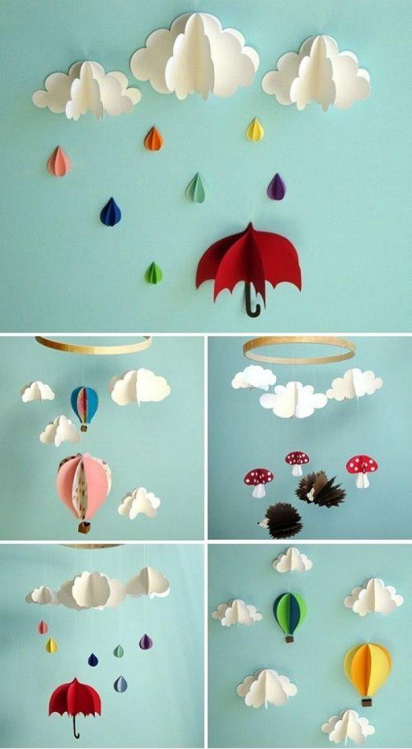 бумажные гирлянды из сердечек на стене