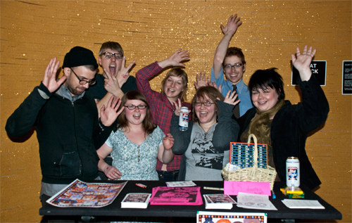 Chicago Zine Fest co-founders at Bingo Night Fundraiser
