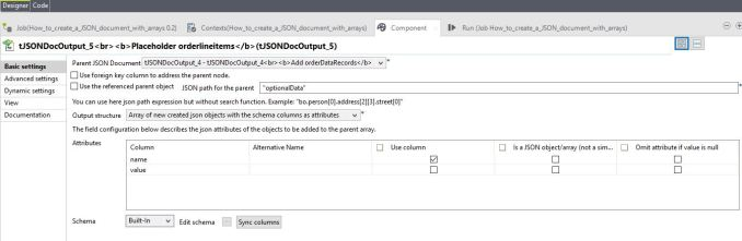 tJSONDocOutput component settings orderlineitems optionalValues placeholder