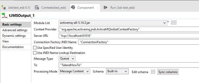 ActiveMQ tJMSOutput