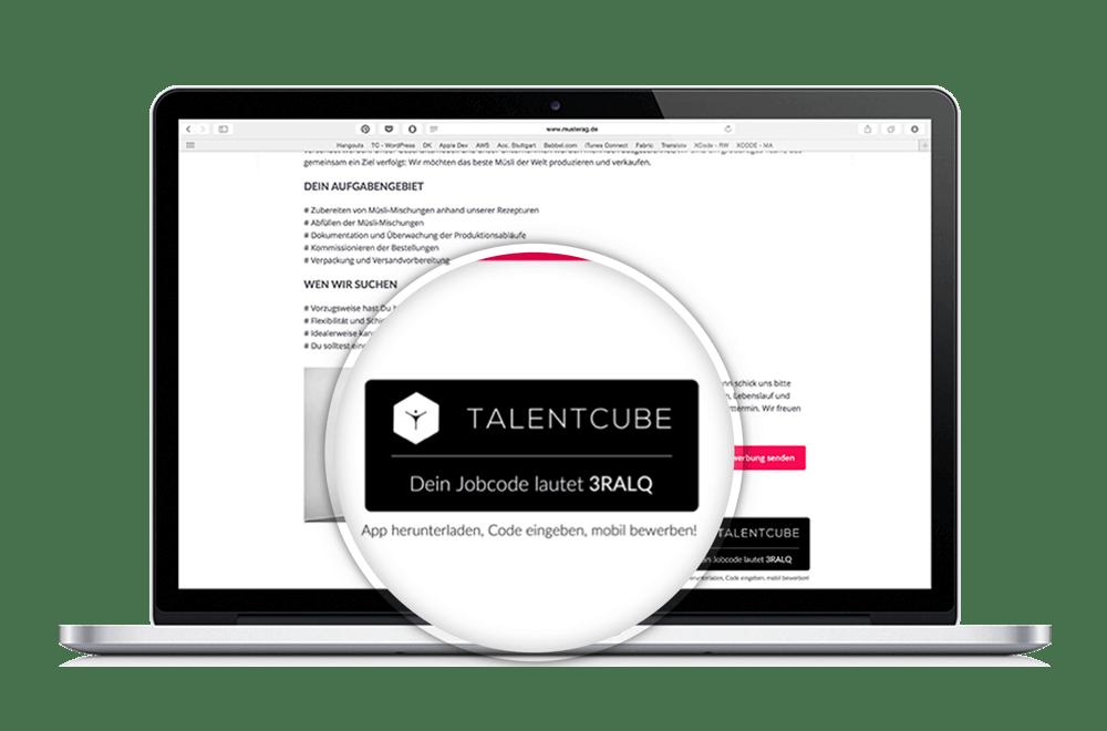 Mobile Recruitment - Jobcode auf Stellenanzeige platzieren