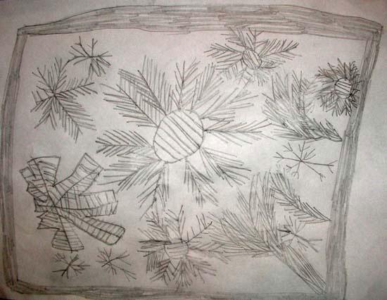 Flori de gheață la fereastră - desen
