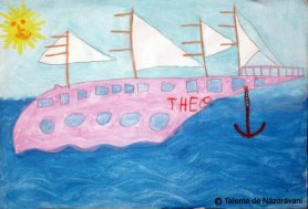 Pictură - bărcuță pe valuri