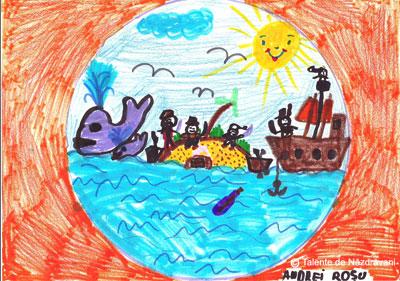 """Andrei R., Craiova, clasa aIIa Un grup de pirati, printre care si Piratul Barba-Neagra, in cautarea unei comori, ascunsa pe o plaja de pe o mica insula, neexlorata inca. Alaturi este vaporul acestora ancorat, asteptandu-i cu prada.Pe mare pluteste si o sticla, ce are in ea un pergament cu harta altei comori la care insa nu pot ajunge din cauza celor doua balene ,, tafnoase"""" (deranjate de prezenta piratilor)."""