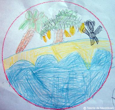 Radu V ., Slobozia, 6 ani O insula cu multe banane si un canibal care ne saluta