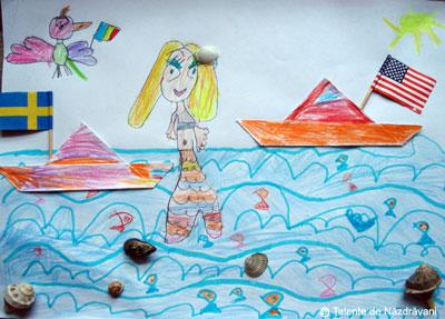 Maria G., Bucuresti, 5 ani Am facut din hartie 2 barcute mici pe care le-am lipit pe decor (marea albastra cu Mica Sirena, papagalita Cocolina si scoicute adevarate culese de mine din mare anul acesta).