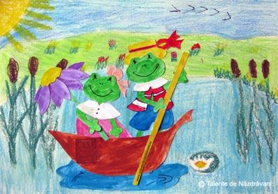 Decupaj - broscuțe în barcă - idei creative