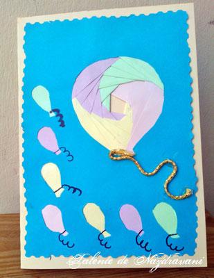 Felicitare cu balon - tehnica iris folding